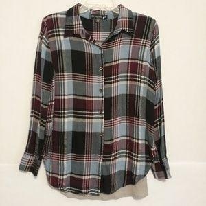 Living Doll Plaid Flannel Long Sleeve Shirt